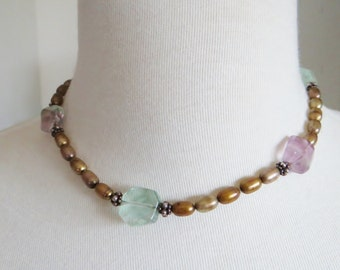 Vintage Pearl Aquamarine Amethyst Choker Necklace With Silver Beads and Ornate Clasp Circa 1990's