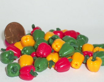 Miniature Dollhouse (6) MIXED PEPPERS Green Red Yellow Vegetables Food #3356