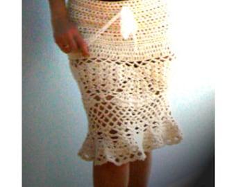 Crochet pencil skirt- Sexy skirt, boho, flared crochet skirt- Handmade chic women white skirt- Peplum crochet mermaid skirt- Fitted skirt