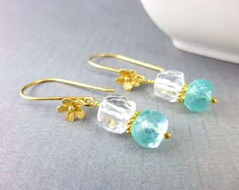 Aqua-Blue Gemstone Earrings, Apatite & Quartz Crystal Earrings, Gold Vermeil, Beachy Earrings, Healing Crystals Heart Chakra Jewelry