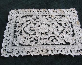 antique lace placemats, handworked needle lace, gorgeous
