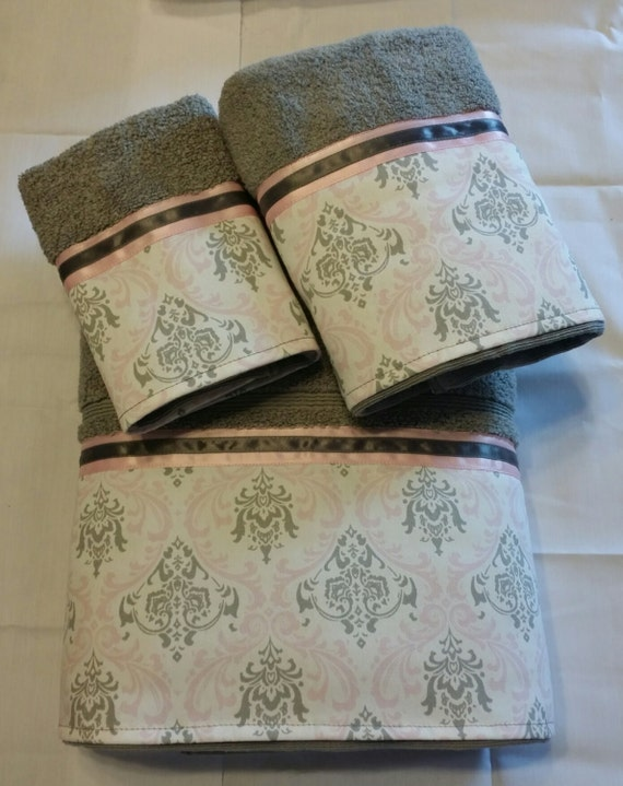 Pale pink and gray grey damask bath towel set by for Red and gray bathroom sets