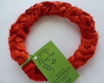 Eyelash fringed sari silk lushly braided into a red-hot fashion statement headband! Go bold!