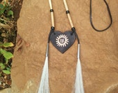 necklace leather, Buffalo bone and horse hair