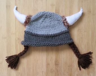 Viking Hat with braids - Knitted Viking Hat - Knit Viking Hat with braids, horns and fur - Custom size and color