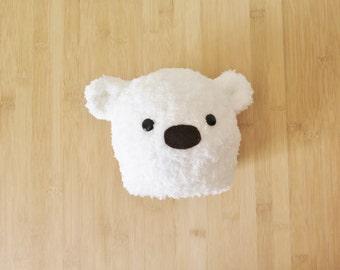 Fluffy White Baby Bear Hat - White Bear Baby Beanie - Bear baby hat - Furry white bear hat for baby