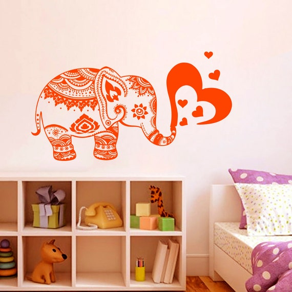 Wall decals vinyl sticker elephant heart indian by bestdecals for Baby room decoration india