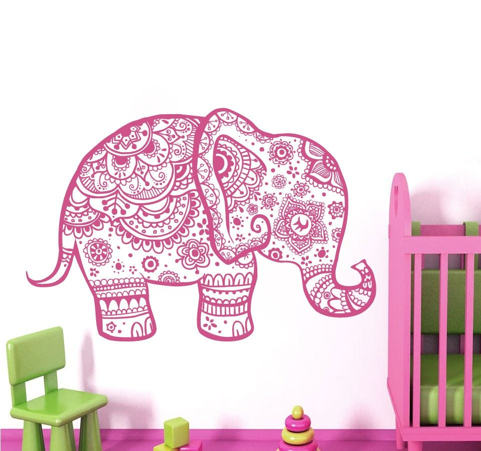 Bohe Mandala Flower Wall Paper Decor Yoga Studio Vinyl: Wall Decals Nursery Indian Elephant Decal Bohemian Bedding