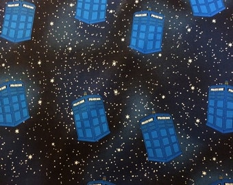 Hello Time Travel Tardis Cotton Fabric for Dr. Who Fans! [Choose Your Cut Size]