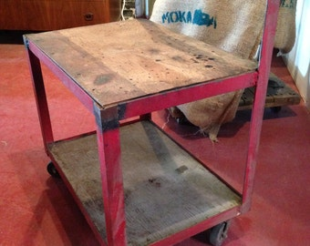SOLD!!!Salvaged Red Industrial Cart