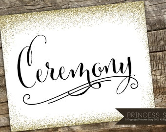 Ceremony Wedding Sign, Glitter Wedding Sign, Rustic Wedding, Wedding Sign, Ceremony Printable, Wedding Ceremony Table Sign