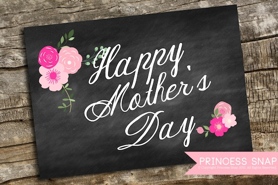items similar to mother 39 s day sign printable pink floral happy mother 39 s day 5x7 jpg and pdf. Black Bedroom Furniture Sets. Home Design Ideas