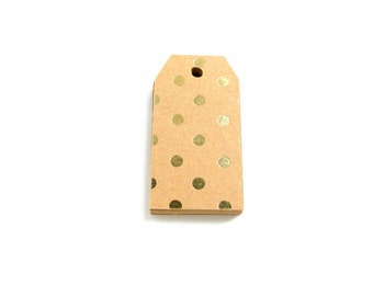 Gold Foil Dotted Blank Kraft Gift Tags