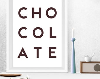 Chocolate Print, Chocolate Poster, Brown Art, Minimalist Poster, Minimalist prints, Kitchen Prints, Kitchen Art, Minimalist Kitchen Poster