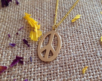 PEACE Charm Necklace - gold