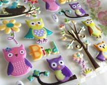 puffy owl stickers colorful owl lovely baby owl sticker little tree little owl little bird cartoon owl scrapbook diy owl gift deco card