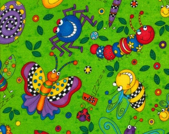 Animal lime Timeless Treasures Patchwork fabric 0,5 m pure Cotton spider bug animals