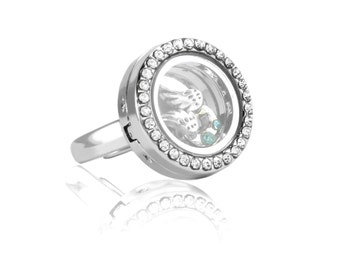 Floating Locket Ring with Choice of 4 Charms