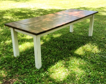 Custom Built Farm Table, Wood Plank Top Table, Farm House Wood Table, 5, 6, 7, 8 Foot Rustic Wood Dining Table, Custom Finished, Chalk Paint