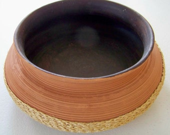 Clay Flower Pot With Basket Weave Bottom