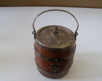 Antique Wood & Silver Biscuit Barrel