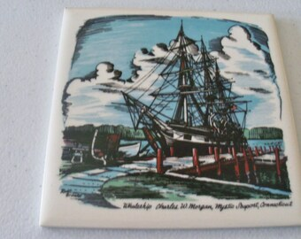 Ceramic Tile Painting Of Whaleship Charles W. Morgan Mystic Seaport Connecticut