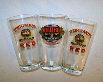 Two Weinhards Red & One Old 66 Pint Beer Glasses
