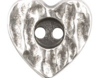 18mm RUSTIC HEART BUTTON - Antique Silver