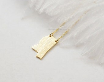 Mississippi state Necklace in Gold, MS state gold necklace, Jackson necklace