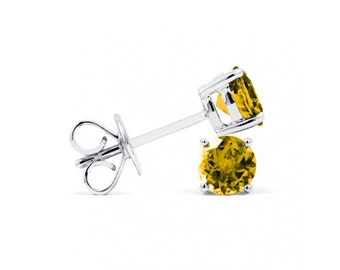Classic 18ct White Gold Citrine Stud Earrings