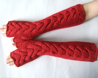 Knitted of ALPACA and WOOL. Soft and warm handmade RED fingerless gloves, wrist warmers, fingerless mittens. Cable gloves.