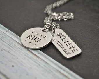 Jewelry for Runners, Just RUN Believe In Yourself Fitness Motivational Workout Necklace
