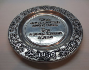 Vintage RWP Wilton Armetale With Only A Mothers Love Plate / Made in USA 1980