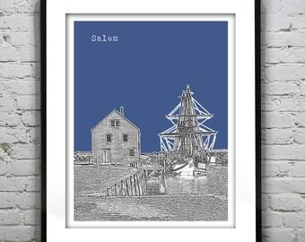 Salem Massachusetts Skyline Poster Art Print MA Version 2