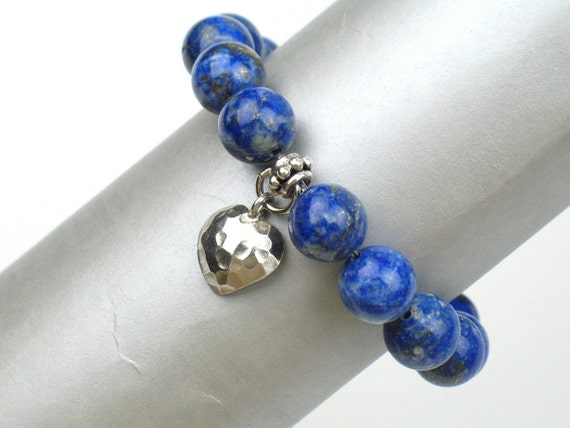 Bead Stretch Bracelet in Blue with Lapis Lazuli Stones, White Jade, and Hammered Silver Heart Charm / Best Friend Gift / Gift for Her