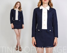 vintage 70s navy Mini Dress S collar white buttons mod 60s schoolgirl secretary micro collared