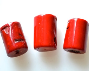 3pc Sea Bamboo Coral Red Color BigTube Shape Beads Pendant Size Approx. 28x18mm