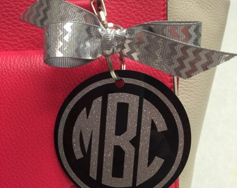 Black bag tag with silver glitter monogram, Personalized