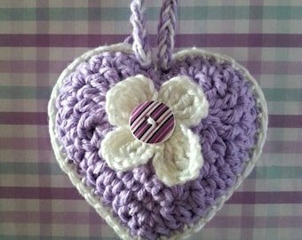 Lavender Heart  Satchet, Purple and White,  Heart Deco,  Heart Decorations,  Wall Art, Crocheted Heart,  Gifts Under 20.00
