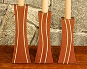 Wood Pillar Candle Stick Holder Set in Mahogany with Maple Inlays
