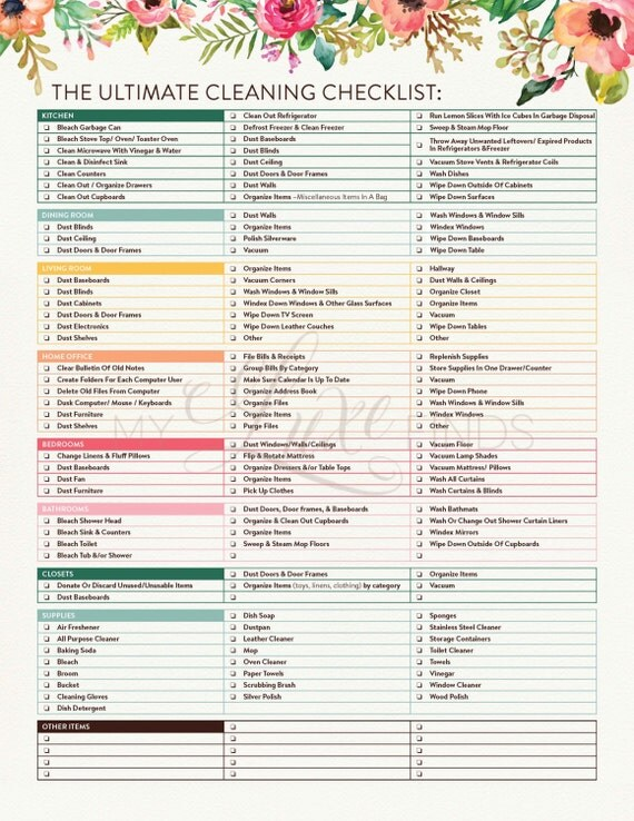 house cleaning checklist the ultimate house cleaning checklist printable pdf 13015