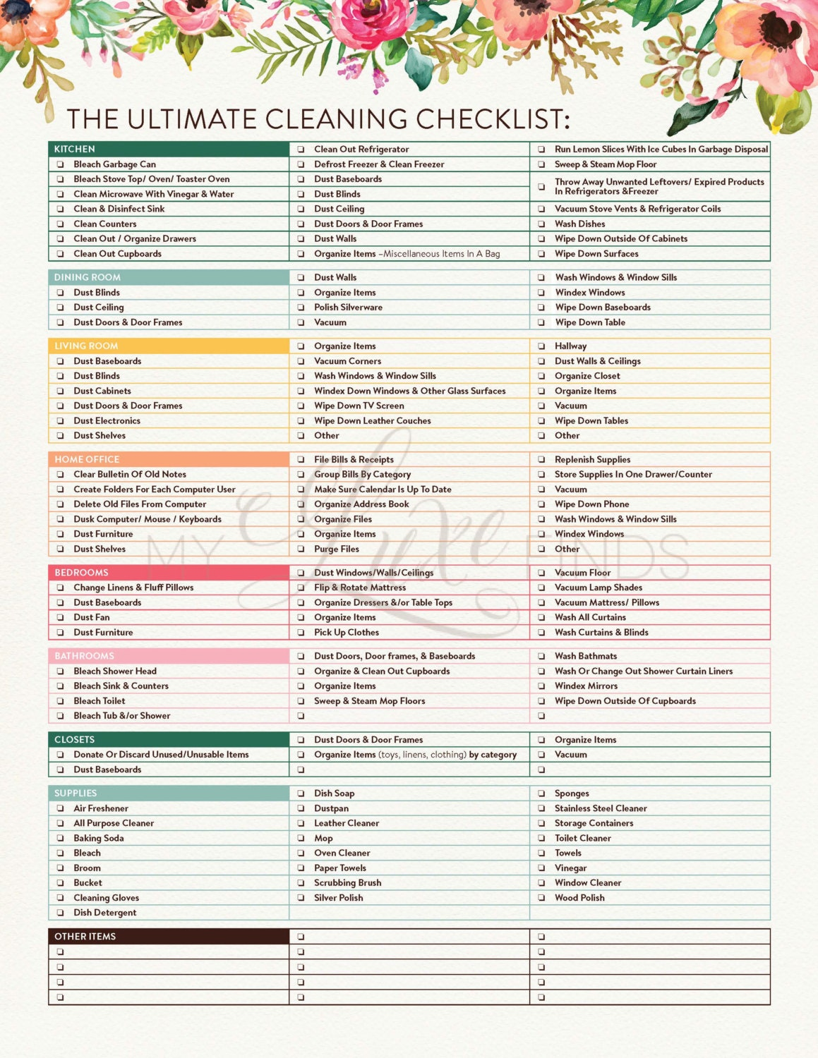 Persnickety image with printable cleaning list