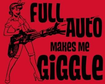 Full Auto Makes Me Giggle - Red V Neck
