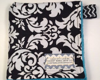 Darling Damask Minky Lovie - Mini Baby Blanket - Minky Lovey - Taggie - Boy's or Girl's Baby Shower Gift - READY TO SHIP!