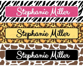 Personalized Waterproof Labels Waterproof Stickers Name Label Dishwasher Safe Daycare Label School Label - Animal Print