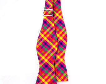 Boys Multicolor Checkered Bow Tie