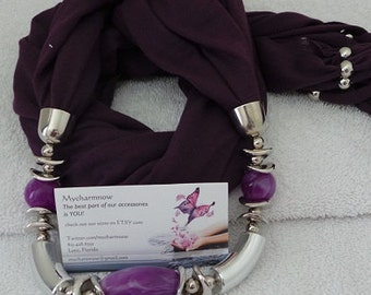 The Purple and silver charm scarf