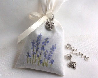 Wedding Favors Bridal Favors Hand Painted Lavender Sachet Favors Bridal Shower Favors