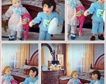 Children playing in pajamas 1/12 scale dollhouse