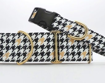 Black and Gold Houndstooth Dog Collar (Martingale, Buckle or Tag)